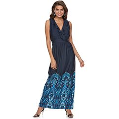 Women's Nina Leonard Ruffle Scroll-Hem Faux-Wrap Dress