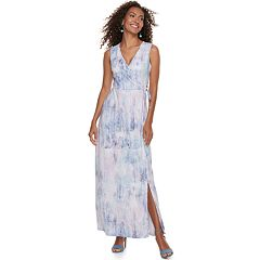 Women's Nina Leonard Print Faux-Wrap Maxi Dress