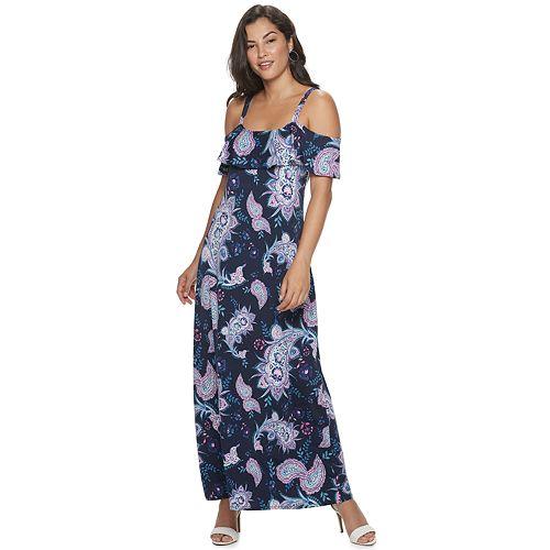 Women's Nina Leonard Print Cold-Shoulder Maxi Dress