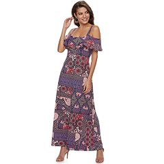 407b6cfc1697 Women s Nina Leonard Print Cold-Shoulder Maxi Dress