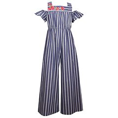 Girls 7-16 Bonnie Jean Striped Cold Shoulder Jumpsuit