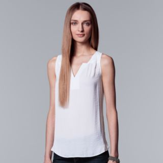 Women's Simply Vera Vera Wang Pleated Splitneck Tank