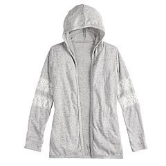 Girls 7-16 & Plus Size SO® Lace-Stripe Hooded Cardigan