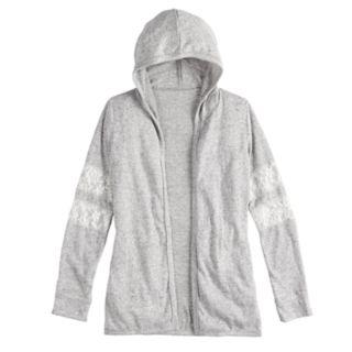 Girls 7-16 & Plus Size SO® Lace-Stripe Hooded Cardigan