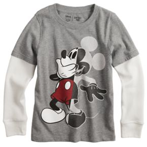 Disney's Mickey Mouse Boys 4-12 Mock Layer Thermal Softest Tee by Jumping Beans®