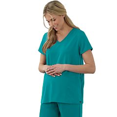 Maternity Jockey Scrubs Pleat Back Top