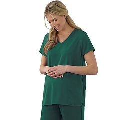 Plus Size Maternity Jockey Scrubs Pleat Back Top