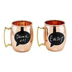 Old Dutch Solid Copper Chalkboard Moscow Mule Mug Set