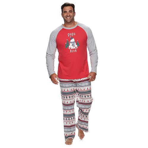 "Big & Tall Jammies For Your Families Polar Bear Fairisle Family Pajamas ""Papa Bear"" Top & Bottoms Set by Cuddl Duds"