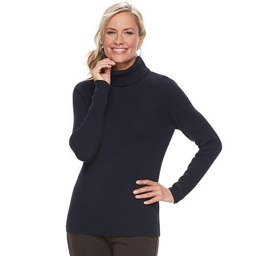 Women's Croft & Barrow® Ribbed Turtleneck Sweater
