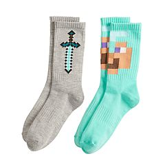 Boys 4-20 Minecraft Steve 2-Pack Crew Socks