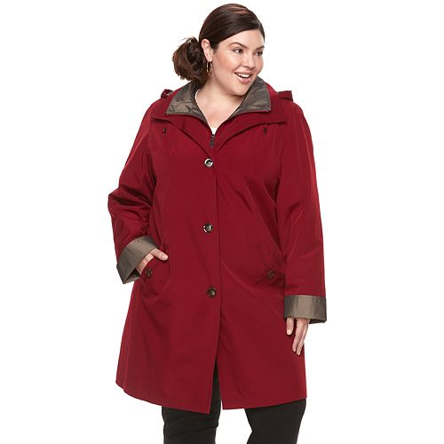 be5ad3a32d1 Plus Size Gallery Hooded Lined Rain Jacket