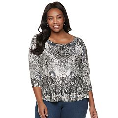 38d180f8bb5 Plus Size World Unity Embellished High-Low Tee