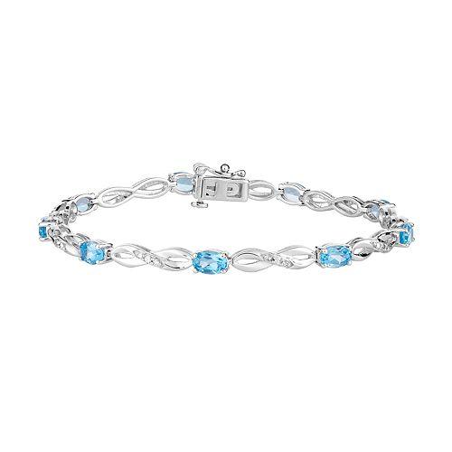 10k White Gold Swiss Blue Topaz & 1/5 Carat T.W. Diamond Infinity Link Bracelet