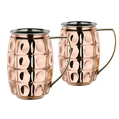 Old Dutch Solid Copper & Stainless Steel Grenada Beer Stein Set