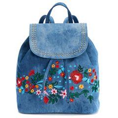 Mellow World Tegan Studded & Floral Denim Backpack