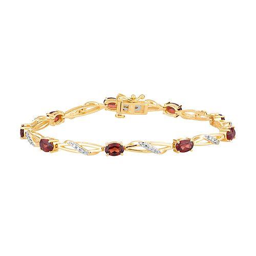 10k Gold Garnet & 1/5 Carat T.W. Diamond Bracelet