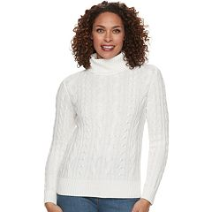 Women's Croft & Barrow® Cable-Knit Turtleneck Sweater