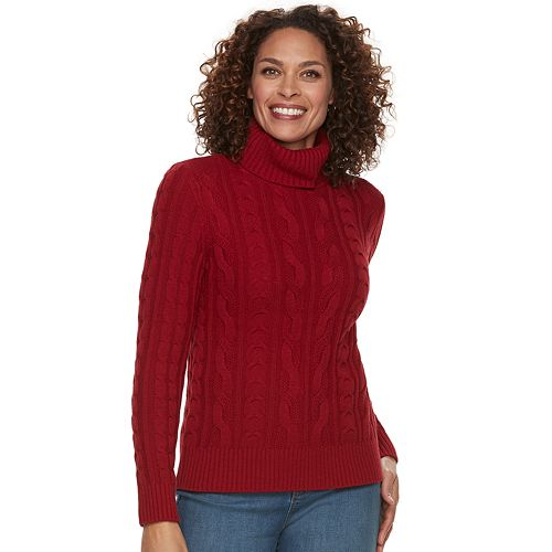 5fbfb0653da Women s Croft   Barrow® Cable-Knit Turtleneck Sweater