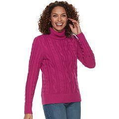 Women's Croft & Barrow® Cable-Knit Turtleneck Sweater