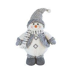 Holiday Gray Standing 15' Snowman Floor Decor