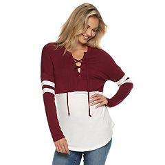 Juniors' Miss Chievous Lace-Up Varsity Striped Colorblock Top