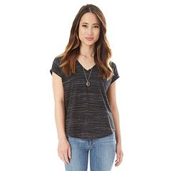 Juniors' IZ Byer Ruched Back Striped Tee with Necklace
