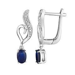 10k White Gold Sapphire & Diamond Accent Heart Latch Back Earrings