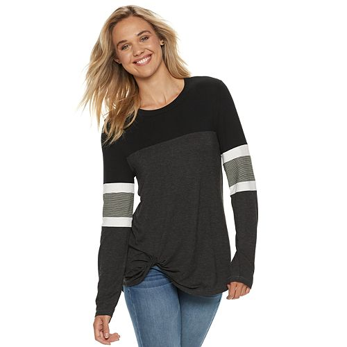 Miss Chievous Juniors Colorblock Heathered Long Sleeve Top