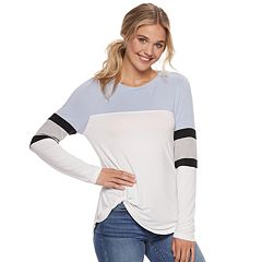 Juniors' Miss Chievous Varsity Striped Twist-Front Colorblock Top