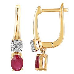 10k Gold Ruby & 1/8 Carat T.W. Diamond Latch Back Earrings