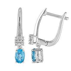 10k White Gold Swiss Blue Topaz & 1/8 Carat T.W. Diamond Leverback Earrings