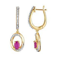 10k Gold Ruby & 1/8 Carat T.W. Diamond Drop Earrings