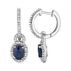 10k White Gold Sapphire & 1/4 Carat T.W. Diamond Drop Earrings