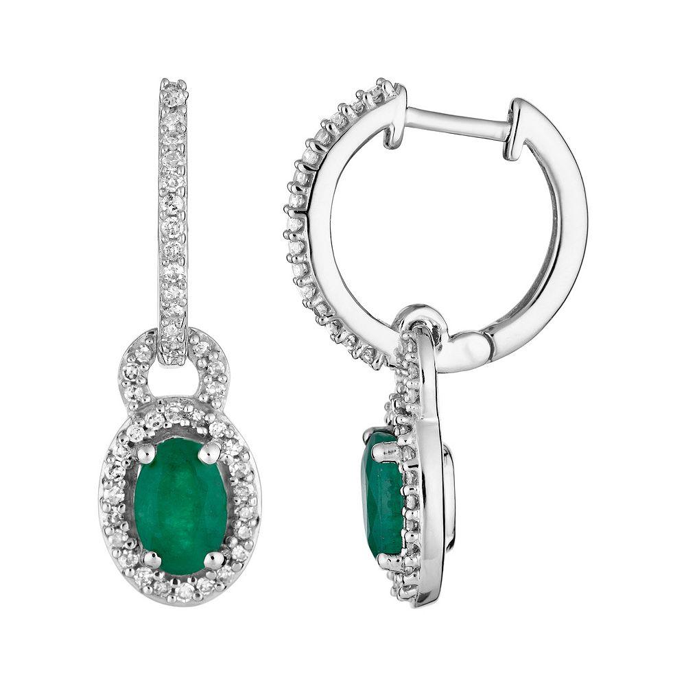 10k White Gold Emerald & 1/4 Carat T.W. Diamond Drop Earrings