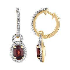 10k Gold Garnet & 1/4 Carat T.W. Diamond Drop Earrings