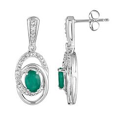 10k White Gold Emerald & 1/5 Carat T.W. Diamond Interlocking Hoop Drop Earrings