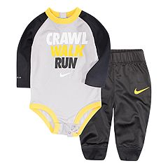Baby Boy Nike 'Crawl Walk Run' Bodysuit & Pants Set