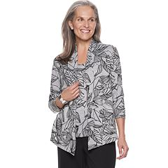 Petite Alfred Dunner Studio Leaves Mock-Layer Top
