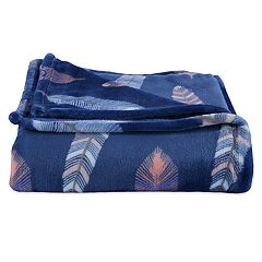 Better Living Velvety Soft Navy Feathers Throw