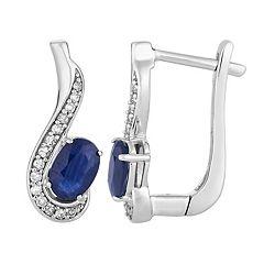 10k White Gold Sapphire & 1/8 Carat T.W. Diamond Latch Back Earrings