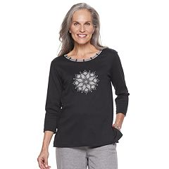 Petite Alfred Dunner Studio Embellished Medallion Top