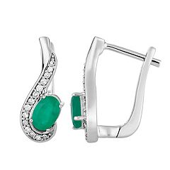 10k White Gold Emerald & 1/8 Carat T.W. Diamond  Latch Back Earrings