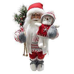 18.5-in. Fairisle Santa & Snowman Christmas Decor
