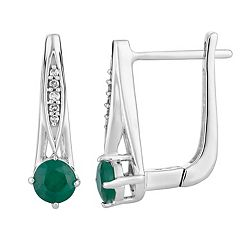 10k White Gold Emerald & Diamond Accent Latch Back Earrings