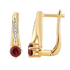 10k Gold Garnet & Diamond Accent Latch Back Earrings