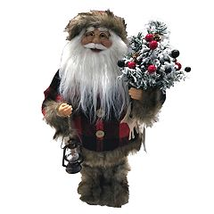 18.5-in. Plaid Faux-Fur Santa Christmas Decor