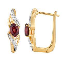 10k Gold Garnet & 1/10 Carat T.W. Diamond Latch Back Earrings