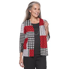 Petite Alfred Dunner Studio Patchwork Mock-Layer Top