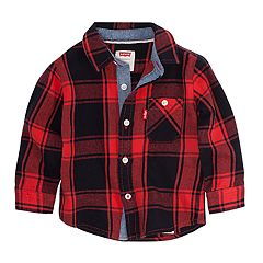 Baby Boy Levi's® Buffalo Plaid 'Levi Strauss And Co.' Woven Button-Up Shirt